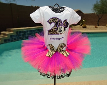 Personalized Minnie Mouse Leopard tutu outfit/Birthday outfit/Halloween costume