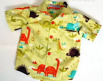 Boys shirt dinosaurs. Baby's shirt classic button up shirt. Dinosaurs boys shirt Classic button up boys shirt. Ready to ship size 2T