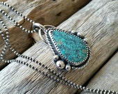 Sterling Silver Turquoise Pendant Necklace, 18 inch sterling silver chain, pear shaped, southwestern,  boho, free shipping