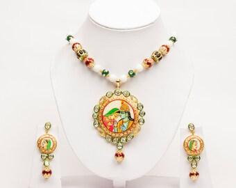Radha Krishna Stone Painting Necklace Set