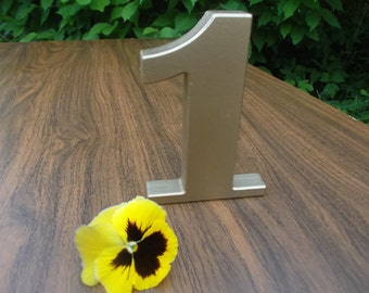 GOLD Table Number 1, Photo Prop 1, Free Standing Number, Wedding Table Decoration