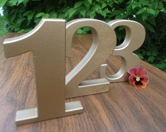5 Gold Numbers, Table numbers, Gold Numbers, Wooden table numbers, Free standing numbers