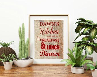 "Personalized ""Kitchen Made With"" Wall Art"