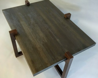 Mahogany coffee table with texturized, weathered hemlock trapped top