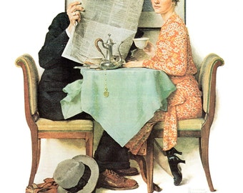 At the Breakfast Table a Post cover from August 1930 painted by Norman Rockwell