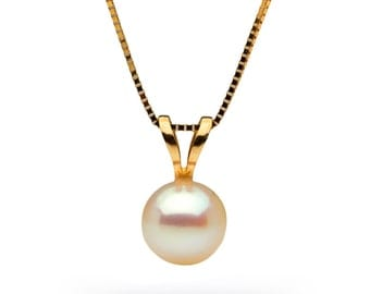 White Akoya Pearl Classic Solitaire Pendant, 6.0-6.5mm, AAA Quality