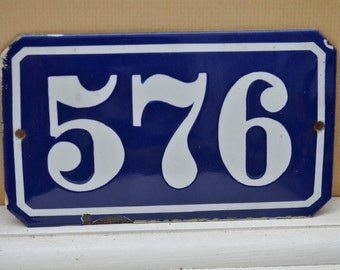 Antique French Enamel House Sign Blue and White