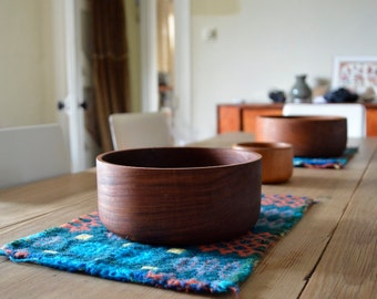 3 Mid century Teak Bowls 2 Large and 1 Small Danish Retro