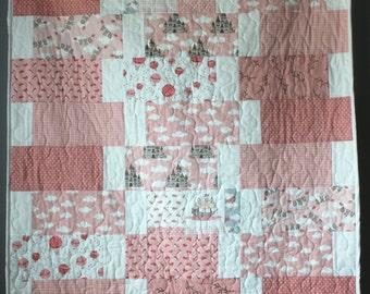 Girl Baby Quilt- Peach Baby Quilt-Peach Baby Bedding-Moda Storybook-Handmade Baby Quilt- Peach Nursery Bedding- Minky Baby Quilt-