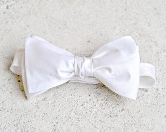 Bright White Silk Bow Tie