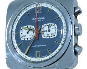 Vintage Andre Rivalle Mechanical Chronograph Mens Watch Swiss