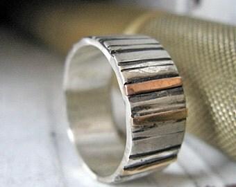 Rustic Mens Wedding Band Mens Wedding Ring Size 10-1/2 Multimetal Bimetal Gold Silver Ring Rose Gold Wedding Band Man Wedding Ring Mens Ring