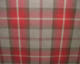 Balmoral Cherry Wool Effect Washable Thick Tartan Plaid Upholstery & Curtain Designer Fabric