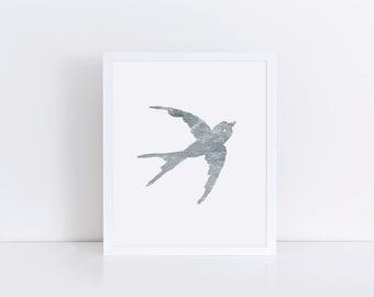 Minimalist Silver Swallow Bird Print, Modern Nursery Decor