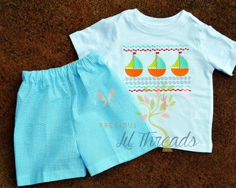 Baby Boys, Toddler Boys, Boys Personalized Monogrammed Faux Smocked Sailaboat Shirt and Short Set size 6m, 12m, 18m, 2t, 3t, 4t, 5t, 6yr