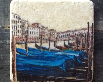 Gondolas in Venice Tile