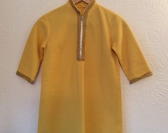 Vintage 60s 70s yellow tunic XS S