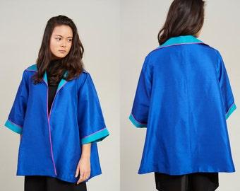 90s Bob Mackie Bright Electric Blue and Turquoise Silk Drape Jacket • M
