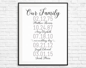 Great Gift! What a difference a day makes: Personalized, Family Milestones and Dates Print (8x10 or 11x14) Choice of Colors!