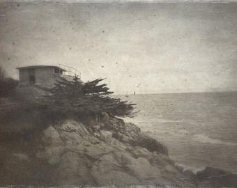 Maine - Portland, landscape, fort, ocean, trees, rocks, sepia, metallic photo