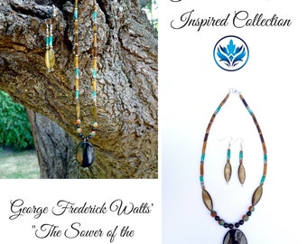 Tiger's Eye and Agate Necklace and Earrings Set, Tiger's Eye Jewellery Set, Tiger's Eye Jewelry Set, Mother of Pearl, Obsidian, Teal, Gold