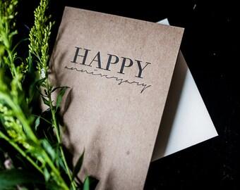 Greeting Card - Happy Anniversary, Letterpress Greeting Card