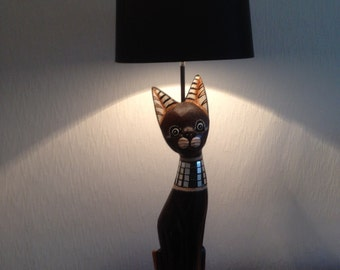 Upcycled Wooden Cat Lamp