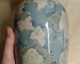 A Chinese handmade / handpainted floral peony decorated vase