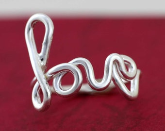 Sterling Silver Love Ring, Love Ring, Solid Sterling Silver Love Ring, Valentines Gift, Girlfriend Ring, Love Scrip, Love Wire Ring