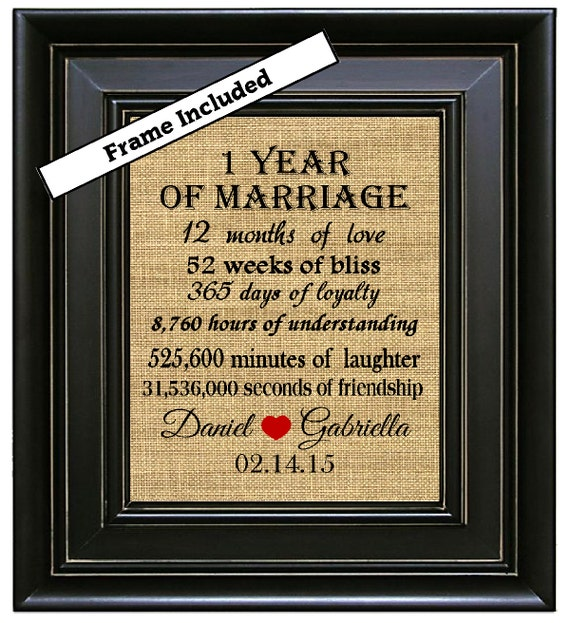 FRAMED 1st First Wedding Anniversary Gift /1st By BurlapNGlass