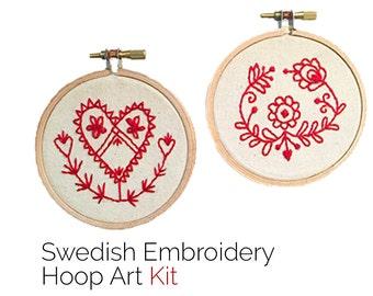 Embroidery Kit • Swedish Folk Art Embroidery Hoop Art Kit • Fair Trade Crafts