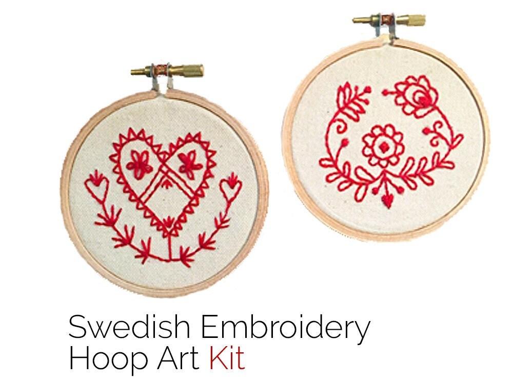 Embroidery kit swedish folk art hoop