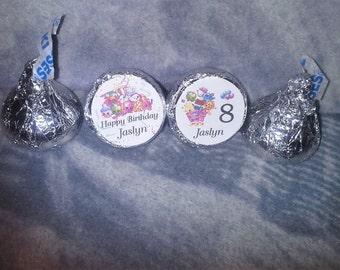 96 Personalized Shopkins Birthday Kiss/Candy/Favor/ Mini Bubbles Labels@ Peel & Stick