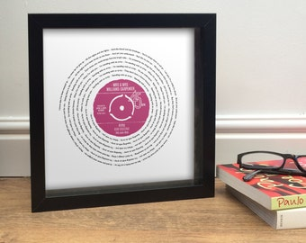 Any Song Lyrics | MRS & MRS Wedding Gift Personalised LGBT | First Dance, Favourite song words | Fully Framed Vinyl Record Label design