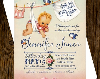 12 Vintage Inspired Itty Bitty Baby Cloths Baby Shower Invitations