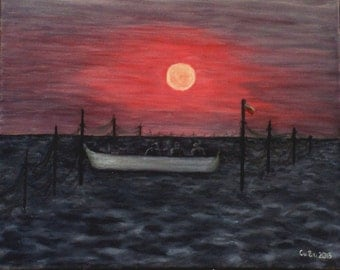 "Fishermen-Sunrise-Primorsko-Bulgaria-EU-sea-50cmX40cm (20""x16"" approx.)-Art-Original Painting-Handmade by Silvia Dimova"