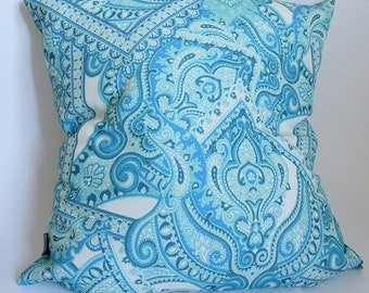 Cushion Pillow with intricate framed scarf print - turquoise & blue