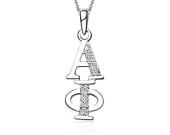Alpha Phi Lavalier - Vertical Design Sterling Silver  (AP-P001)