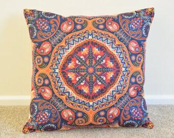 "Bohemian/Hip/Ethnic/Oriental Colourful Cotton Linen Cushion/Pillow Cover in 18 x 18"""