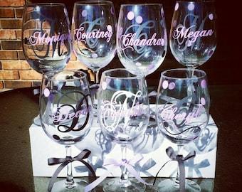 5 Personalized BridesMaid Wine Glasses