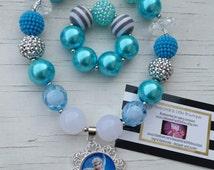 disney frozen bubblegum necklace and bracelet set frozen birthday outfit  turquoise bubblegum necklaces Disney trip queen Elsa tutu