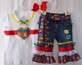 Custom boutique girls Autism Awareness jeans & ribbon shirt set all sizes