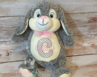 Personalized Stuffed Animal Bunny Rabbit, Monogrammed, Baby cubbie, Baby Shower Gift, Appliqué