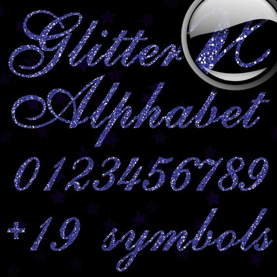 Blue Glitter Alphabet, Digital Glitter Alpha, Blue Digital Alphabet Letters, Blue Glitter Letters, Large Glitter Letters,  Design #126