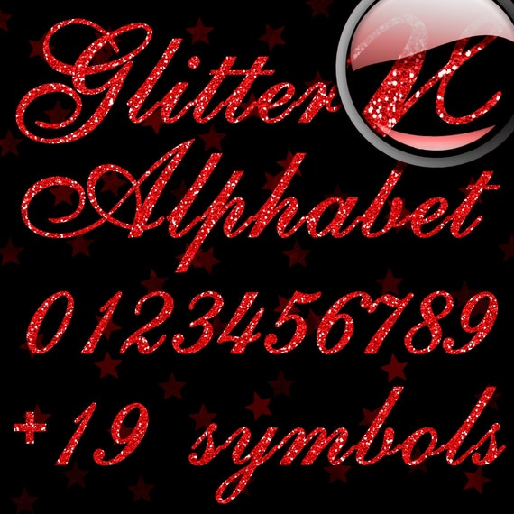 Red Glitter Alphabet, Digital Glitter Alpha, Red Digital Alphabet Letters, Red Glitter Letters, Large Glitter Letters,  Design #129
