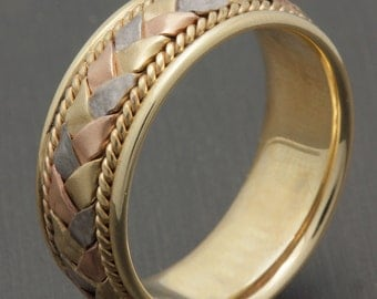 8mm 14K Tri Color Gold Hand-Woven Basket Weave Comfort Fit Wedding Band, Gold Rings, Braided Rings, Hand Braided