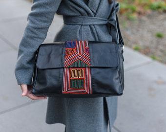 Real leather handbag with Mola