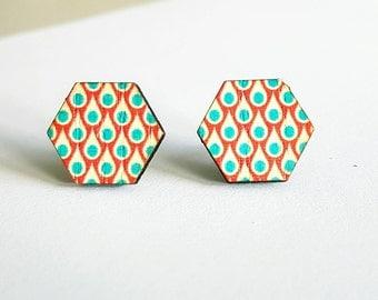 SALE Red and aqua hexagonal wooden stud earrings.