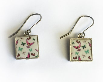 Silver and ceramic bird and butterfly earrings