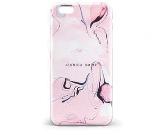 1435 // Pink Marble Paint Monogram Phone Case iPhone 5 5S, iPhone 6 6S, 7, Samsung Galaxy S5, Samsung Galaxy S6, Samsung Galaxy S7 Edge Plus